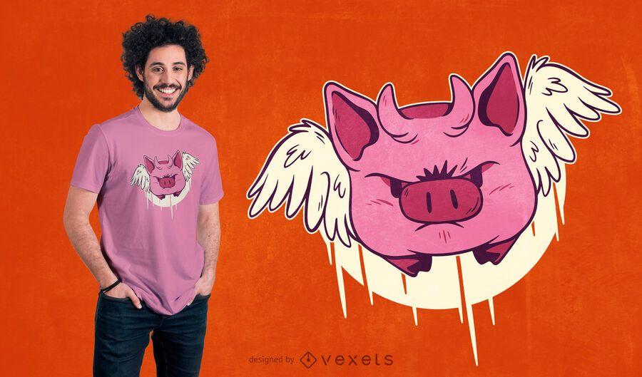Design de camisetas Devil Pig