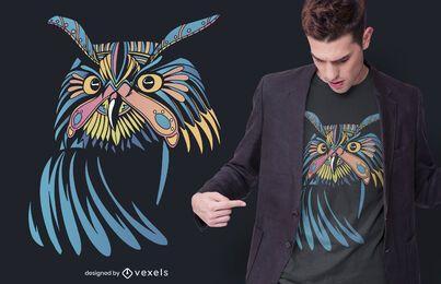 Diseño de camiseta de búho místico colorido