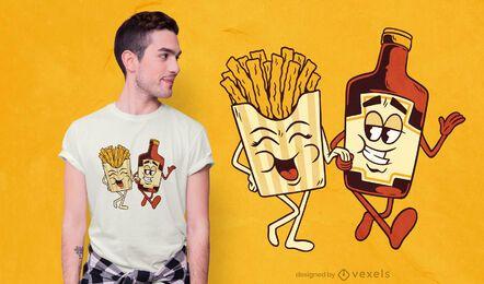Pommes und Ketchup Paar T-Shirt Design