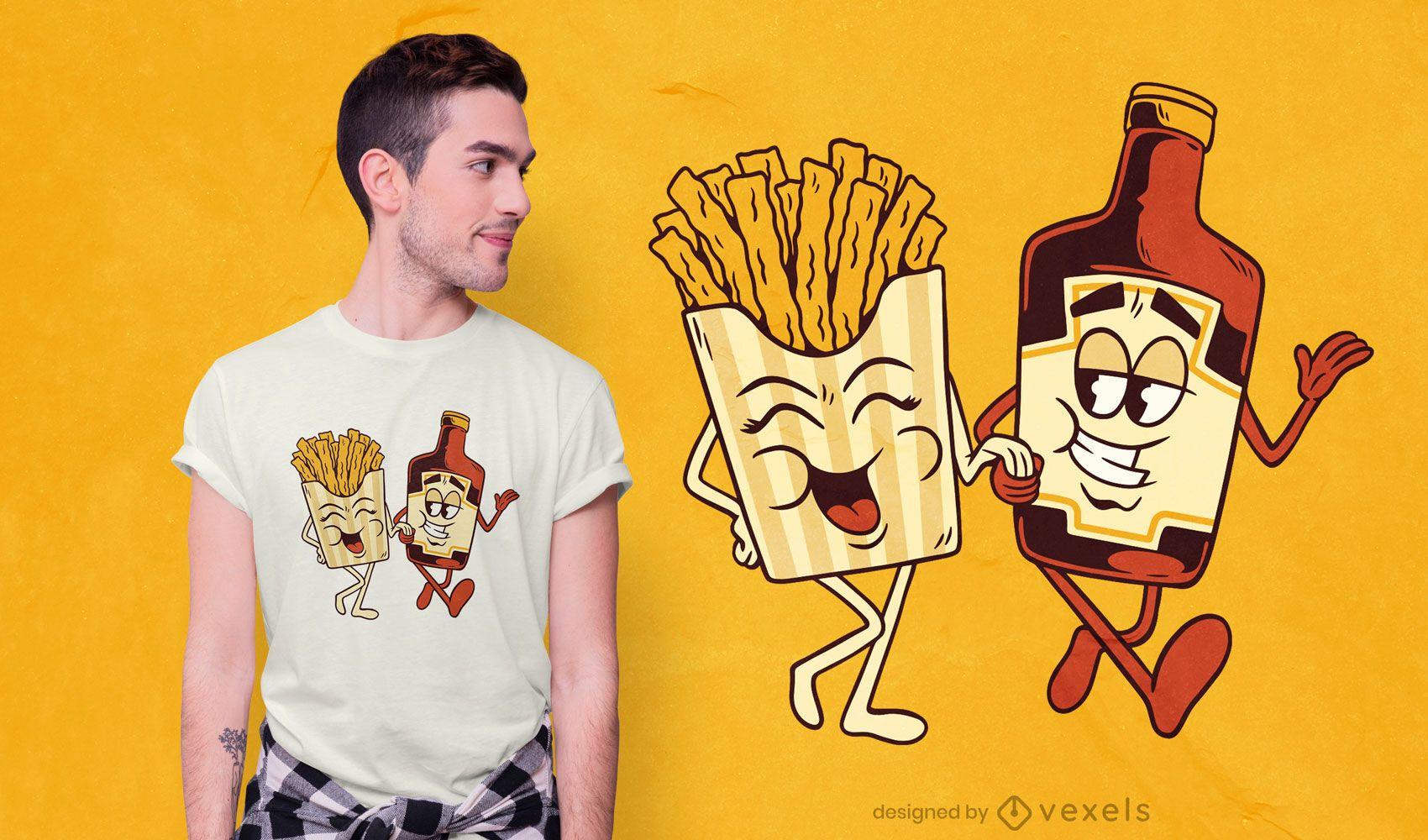Diseño de camiseta de pareja de papas fritas y salsa de tomate