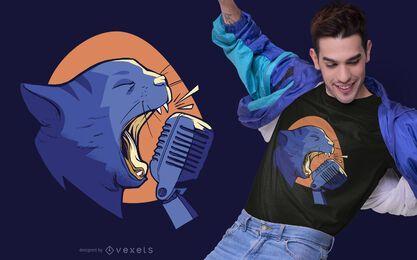 Singende Katze T-Shirt Design