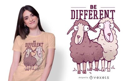 Diseño de camiseta Be Different Sheep