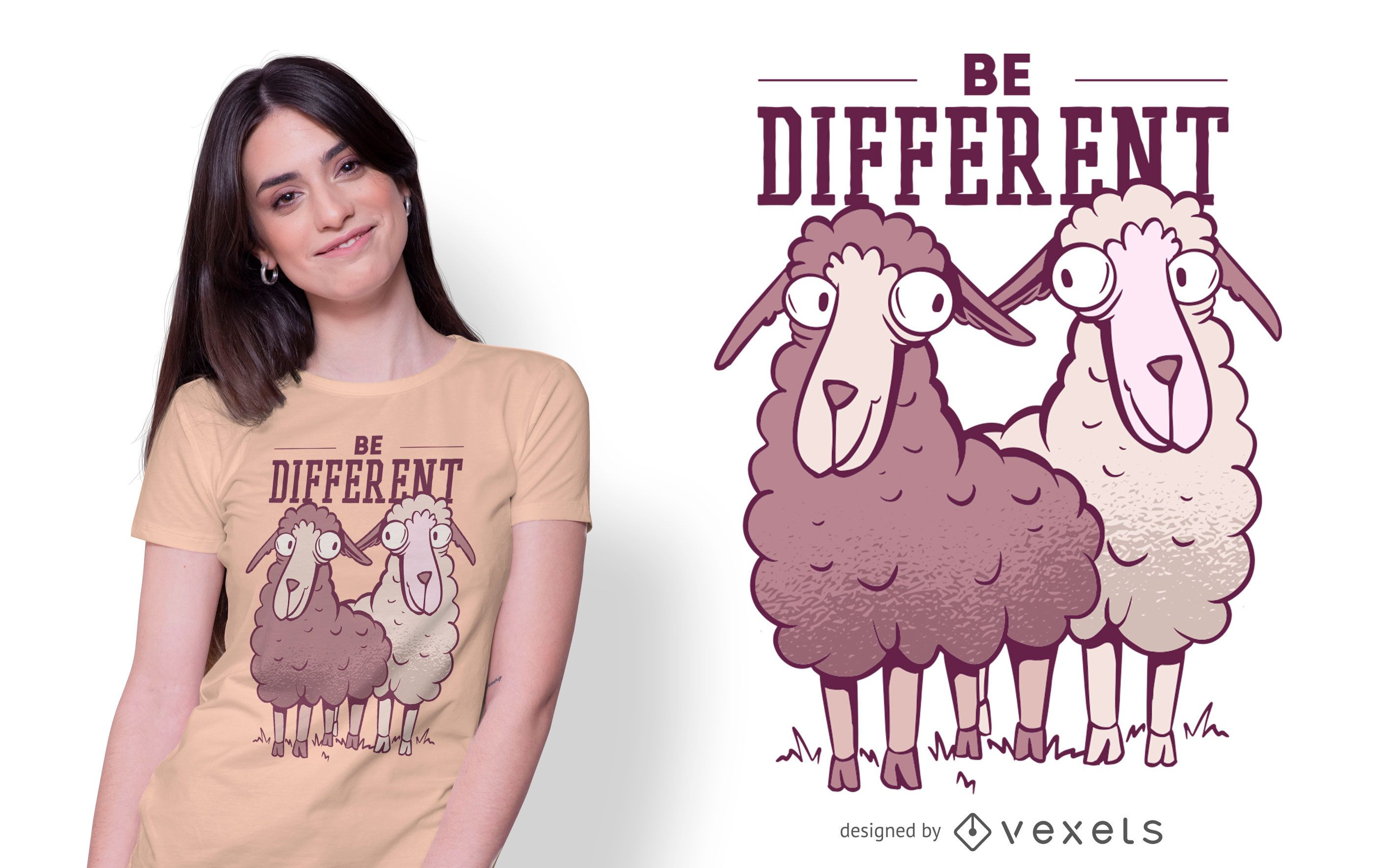 Be Different Sheep T-shirt Design