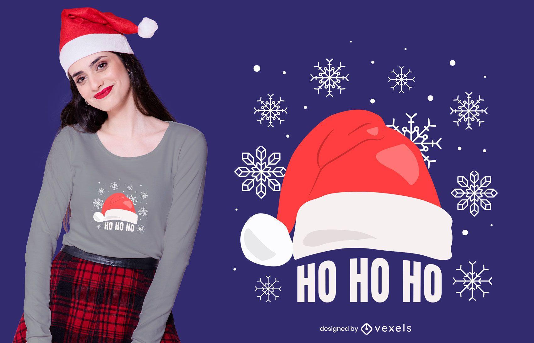 Diseño de camiseta Ho Ho Santa Hat