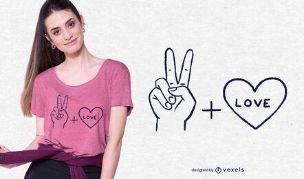 Diseño de camiseta de paz y amor