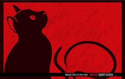 Schwarze Katze im Regen