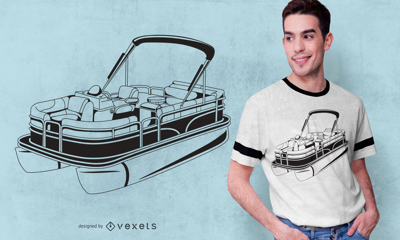 Diseño de camiseta de barco pontón
