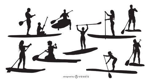 Pacote de silhuetas de pessoas para standup paddleboard