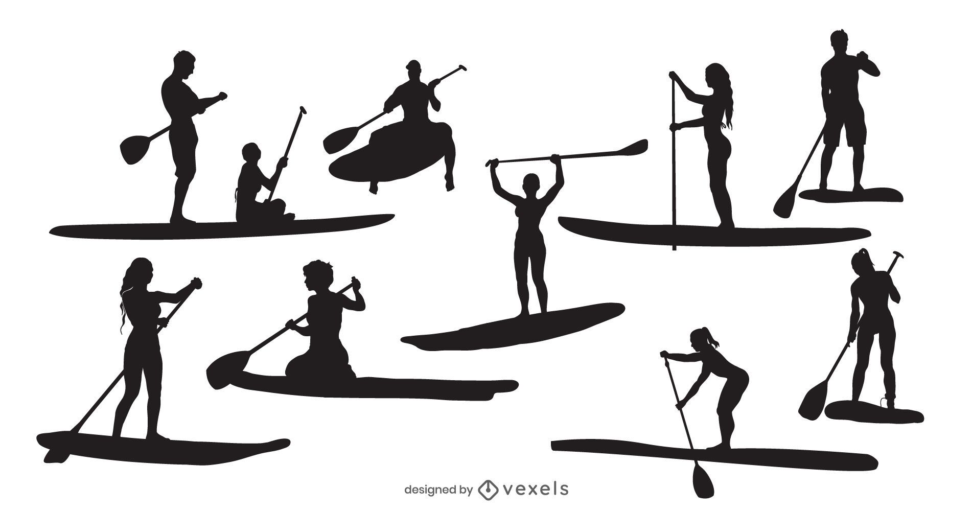 Standup Paddleboard People Silhouette Pack