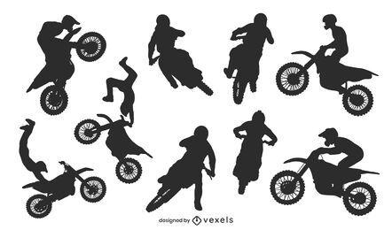Pacote de silhuetas de motocross estilo livre