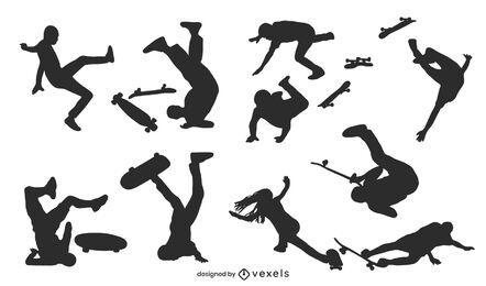 Conjunto de silhuetas de skatistas
