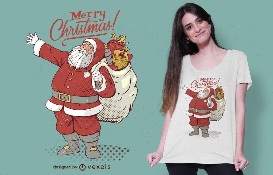 Feliz Natal Papai Noel com design de camiseta