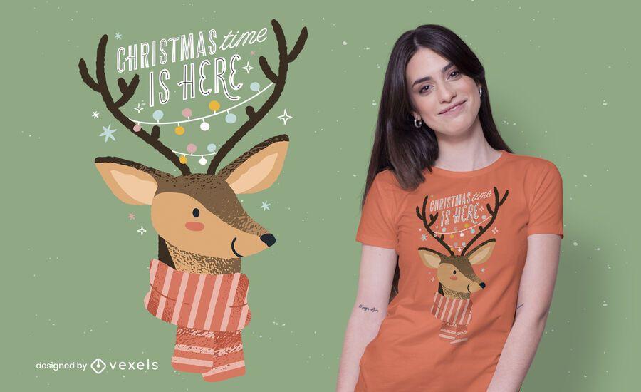 Design de t-shirt de natal de renas