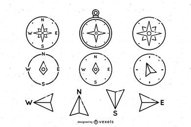 Compass stroke icon set