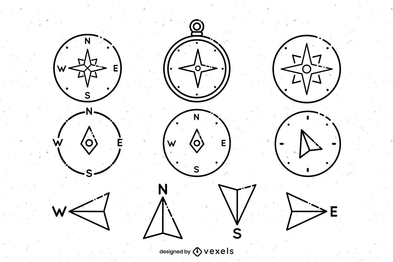 Compass stroke icon set