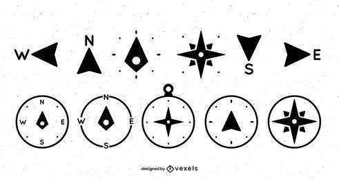 Diseño de conjunto de iconos de brújula
