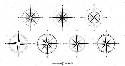 Compass roses set