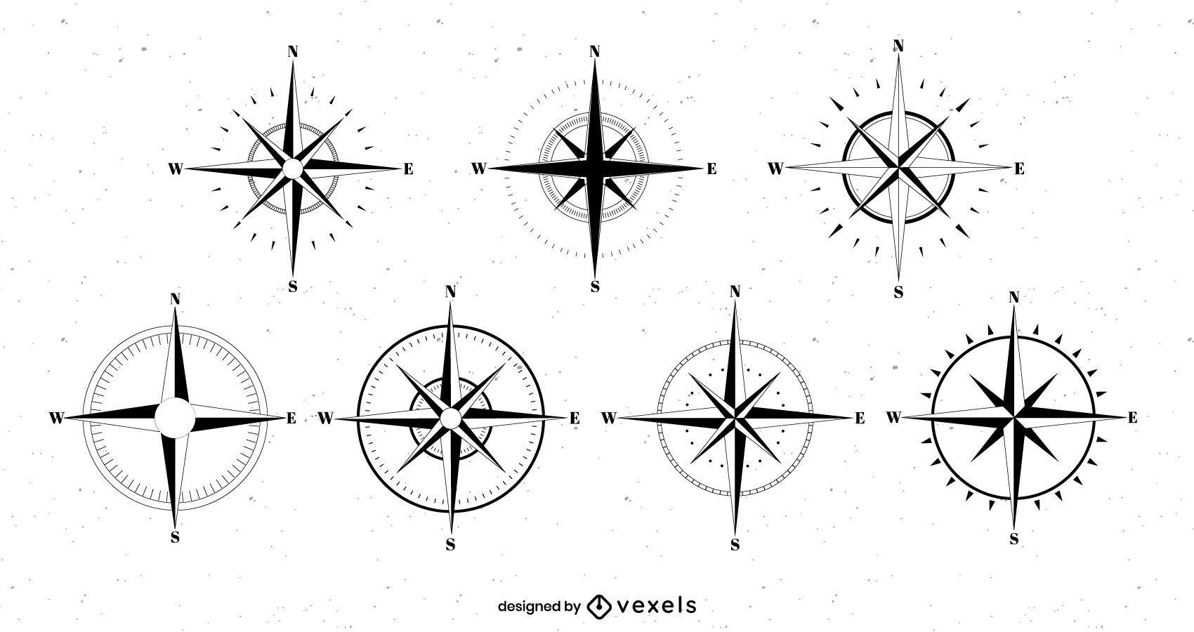 Compass roses set