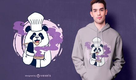 Design de camiseta do chef panda