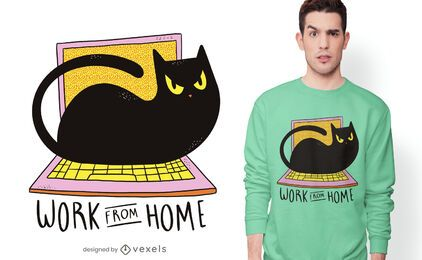 Design de t-shirt de gato para escritório doméstico