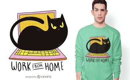 Design de t-shirt de gato para escritório em casa