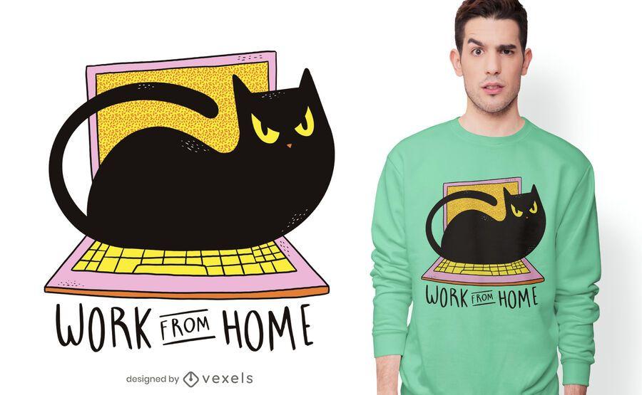 Diseño de camiseta de gato de oficina en casa