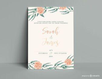 Aquarell-Hochzeits-Einladungs-Schablone