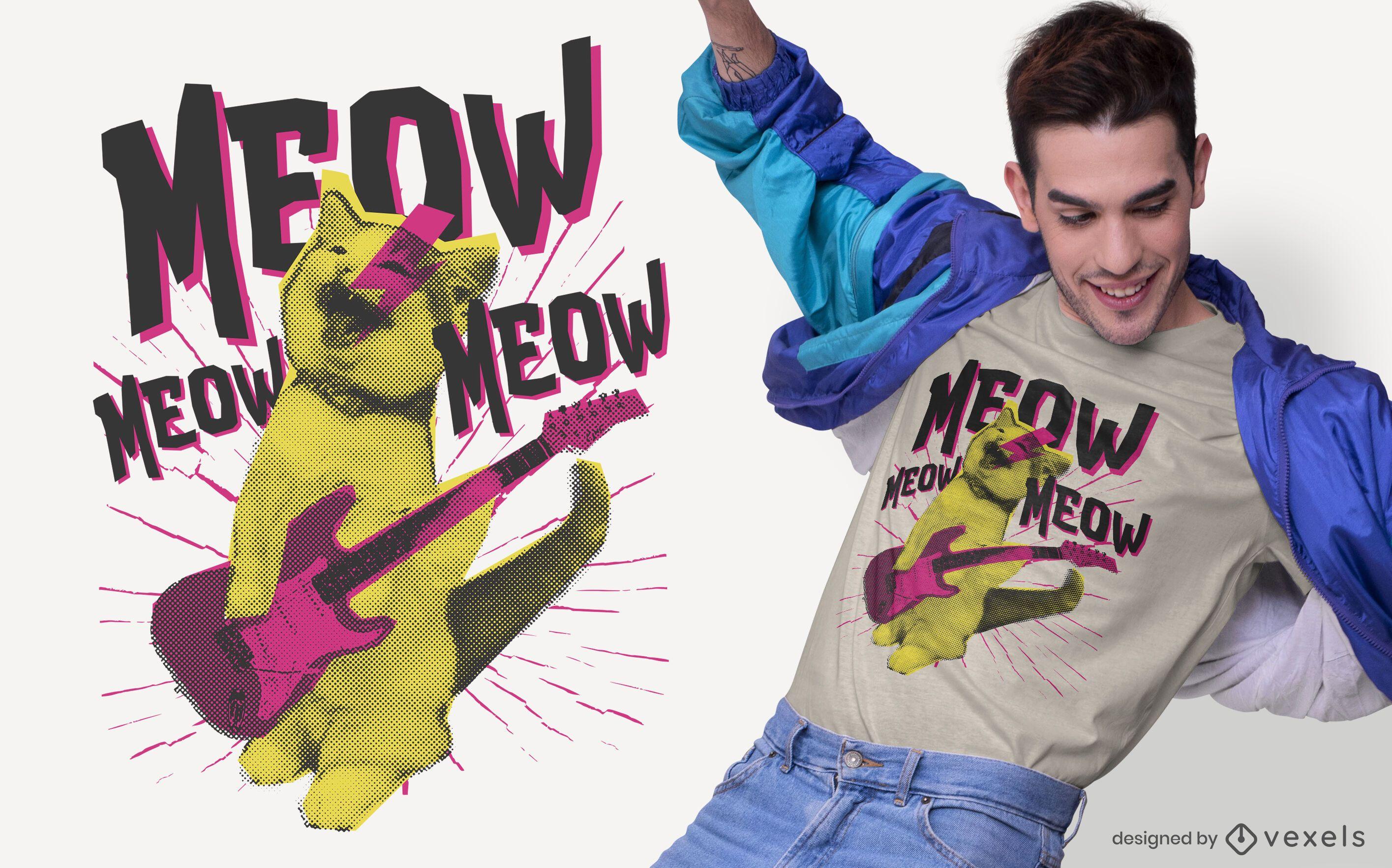 Diseño de camiseta de gato de metal