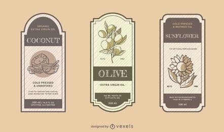 Conjunto de etiquetas de aceite de cocina
