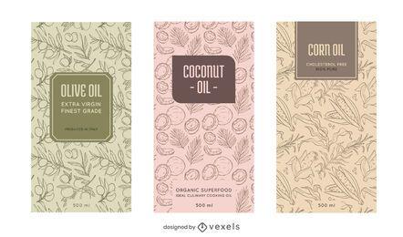 Conjunto de etiquetas de aceite