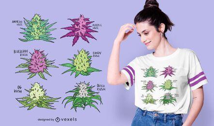 Diseño de camiseta de conjunto de cepas de cannabis