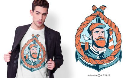 Bearded Sailor T-shirt Design