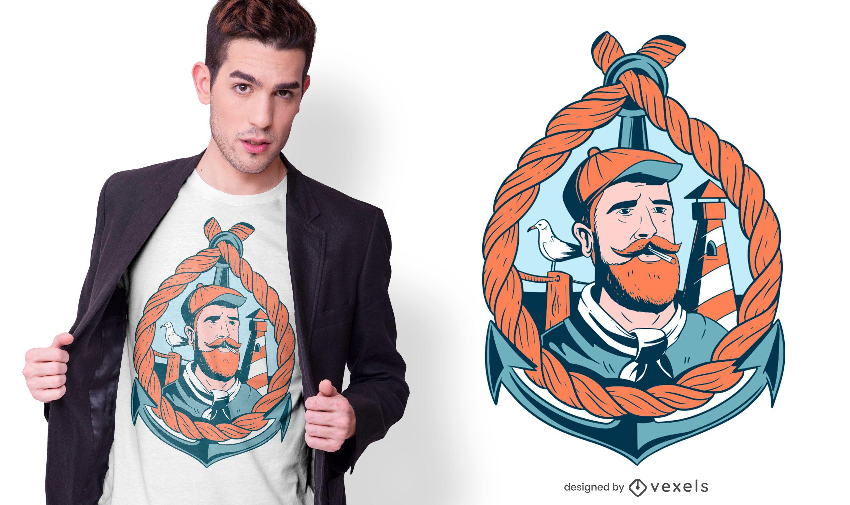 Design de camiseta de marinheiro barbudo