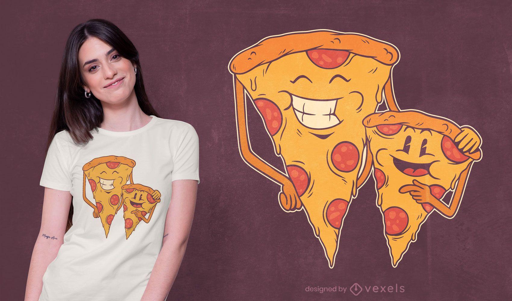 Diseño de camiseta de pizza family
