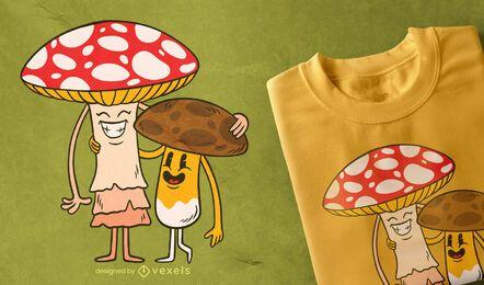 Diseño de camiseta de amigos de hongos.