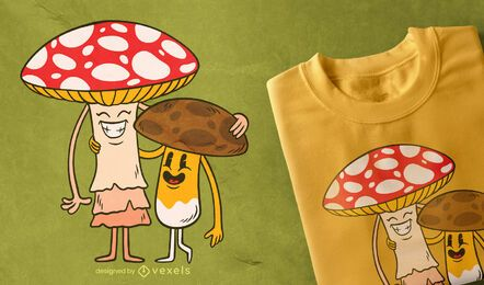 Mushroom friends t-shirt design