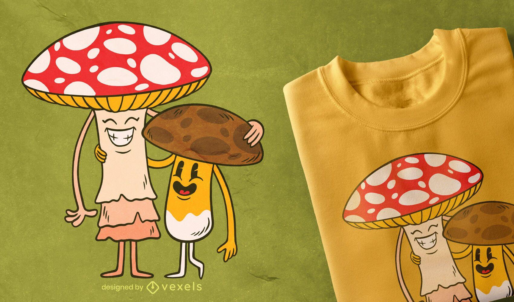 Design de camisetas de amigos do cogumelo
