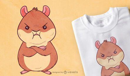 Diseño de camiseta de hámster enojado