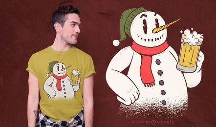 Diseño de camiseta de muñeco de nieve bebiendo cerveza.