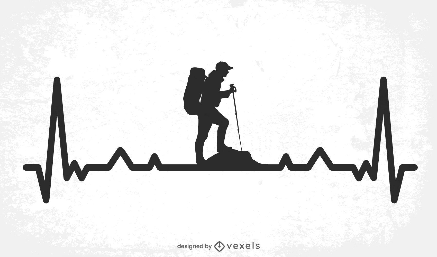 Hiking Heartbeat Line Design