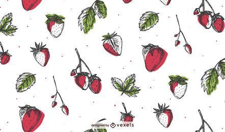 Hand gezeichnetes Erdbeermusterdesign