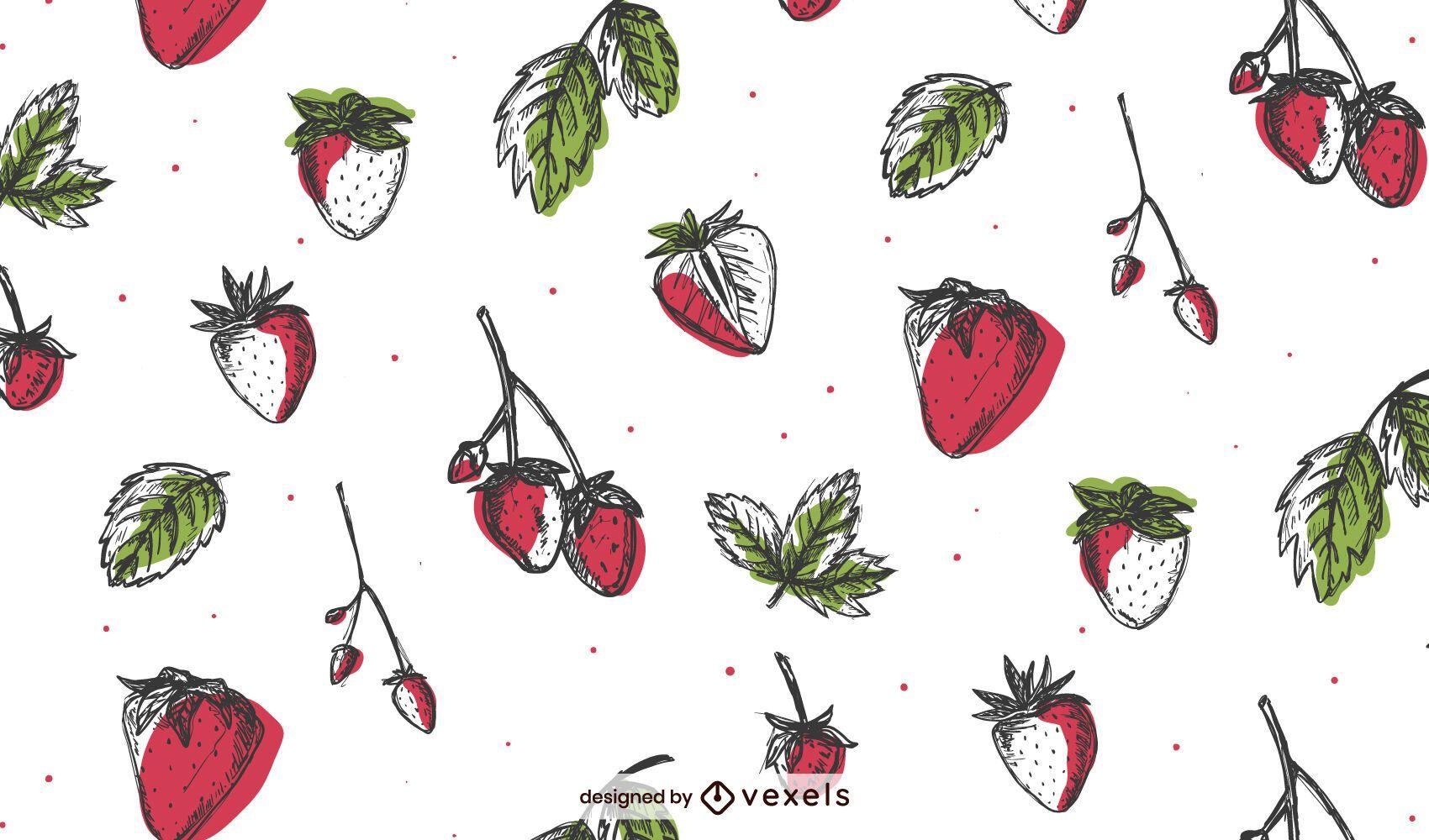 Dise?o de patr?n de fresas dibujadas a mano