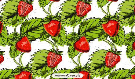 Diseño de patrón de hojas de fresa