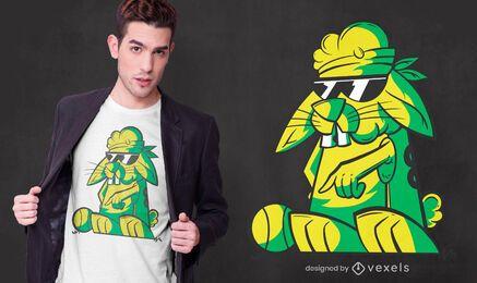 Diseño de camiseta de conejo gángster