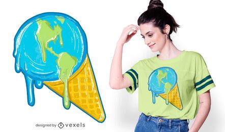 Schmelzendes Erd-T-Shirt Design