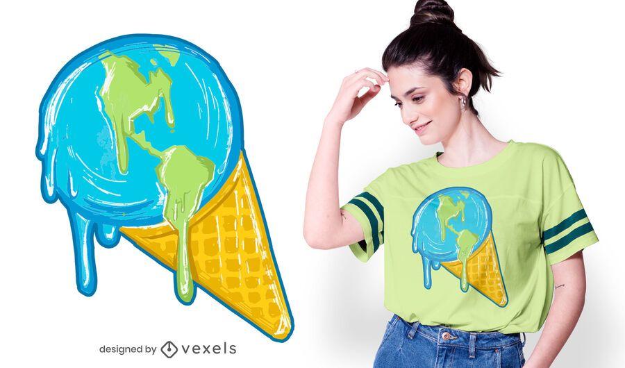 Melting earth t-shirt design