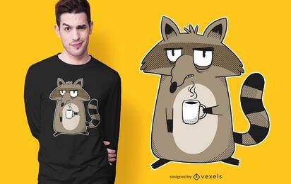 Diseño de camiseta de mapache gruñón