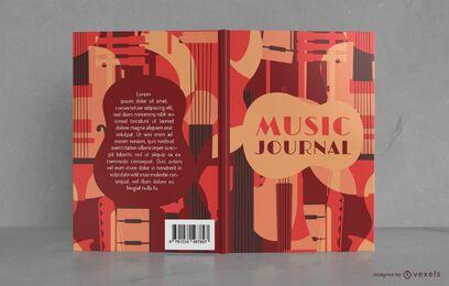 Design de capa de livro de periódicos musicais em estilo vintage