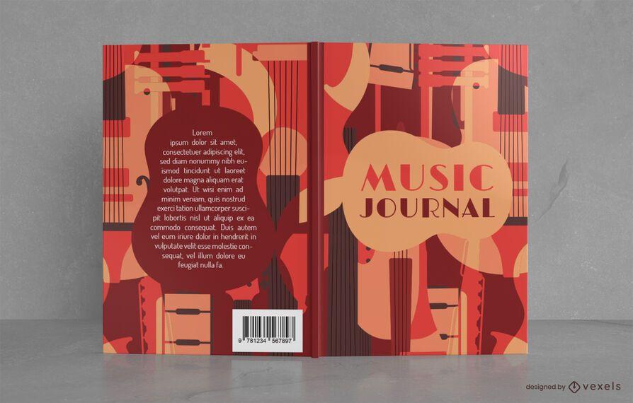 Diseño de portada de libro de diario de música de estilo vintage