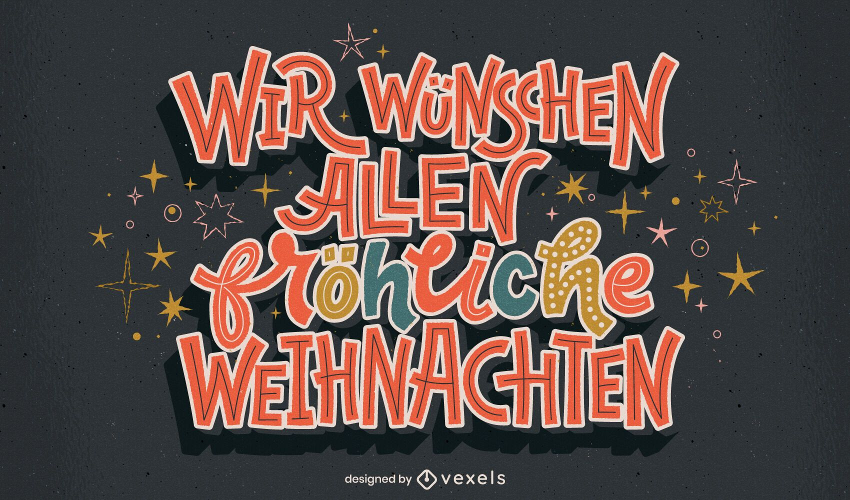 Christmas german lettering design